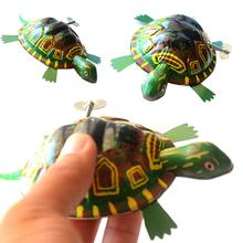 Classic Green Iron Moving Tortoise Wind up Clockwork Toys Kids Hobby