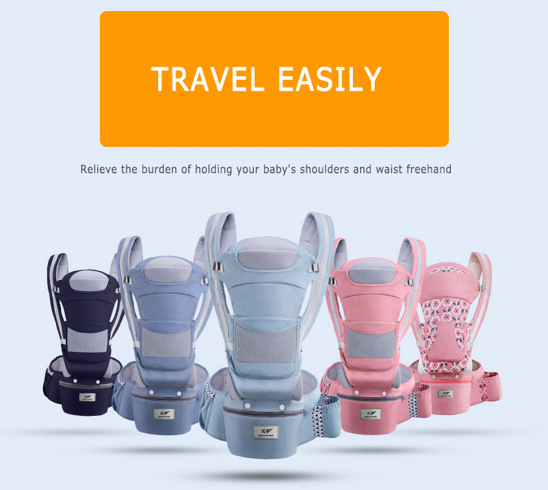 Breathable Ergonomic Baby Carrier Infant Baby Hipseat Carrier 3 In 1 Front Facing Ergonomic Kangaroo Baby Wrap Sling 0-48 Month