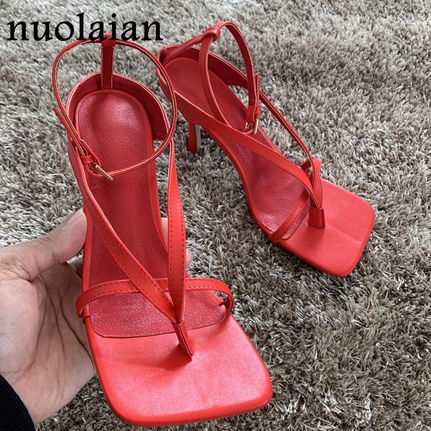 9CM Summer Gladiator Leather Pump Shoes Women Open Toe High Heel Shoes Woman Party Wedding Shoe High Heels Pumps Chaussure