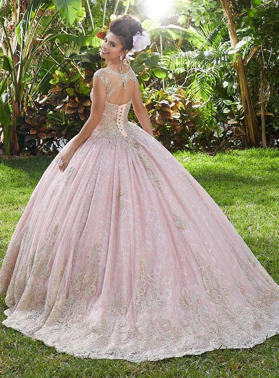 Ball Gown Sweet 16 Quinceanera Dresses Pink Lace Appliques Cap Sleeves Formal Prom Dresses vestido de 15 anosquinceanera