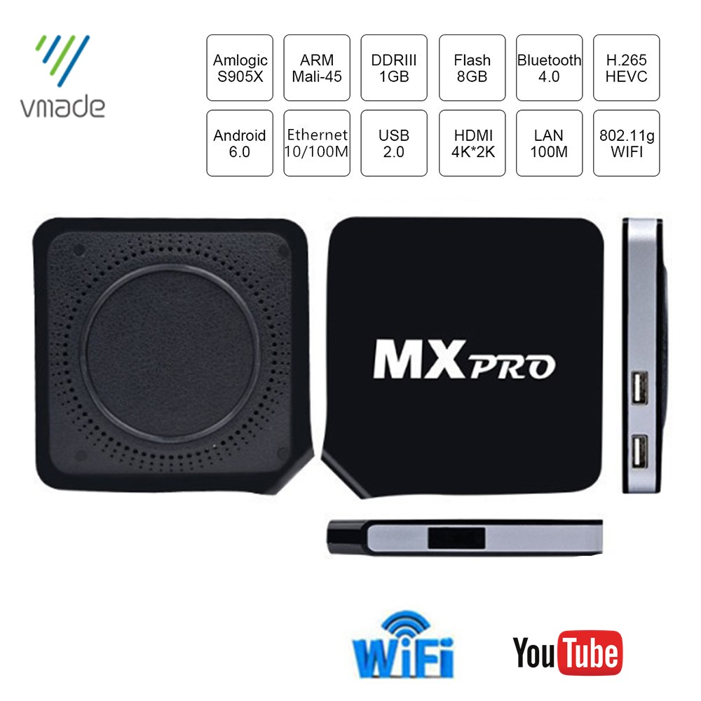 Vmade Mxpro Media Player Amlogic S905X Quad Core ARM Coretex-A53 Up To 2.0GHz Android 6.0 H.265 1GB 8GB HD 1080p 4K 2K TV Box
