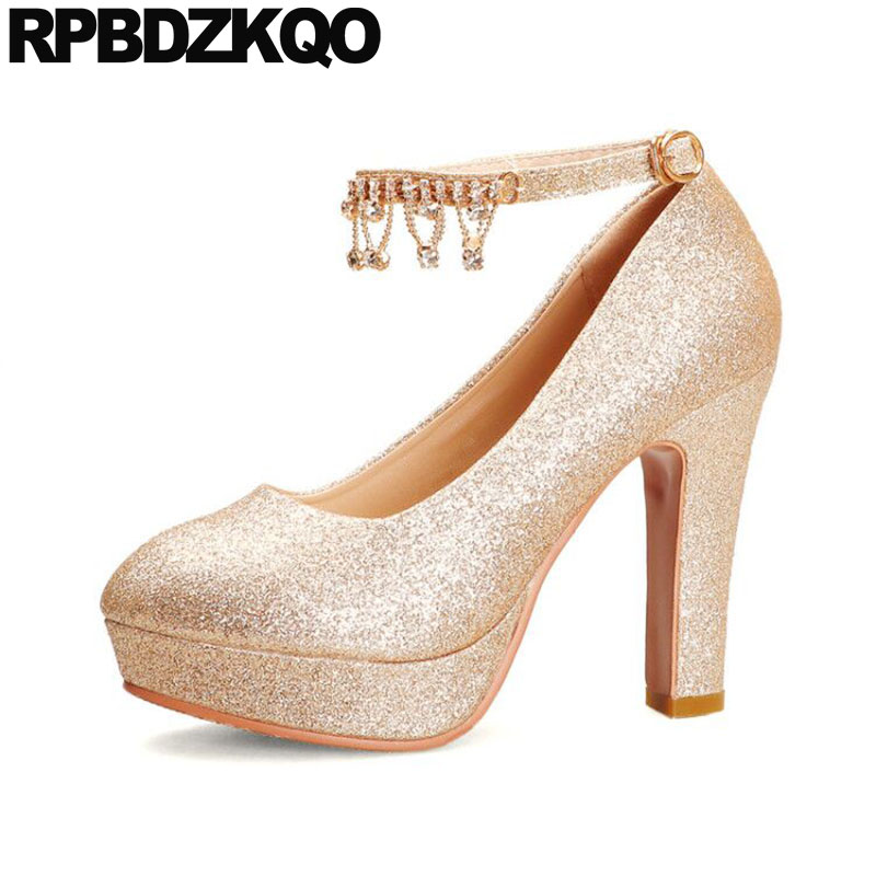 High Heels Pumps Glitter 12cm <font><b>5</b></font> Inch Gold Shoes Women With Platform Ankle Strap 11 43 Block <font><b>10</b></font> 42 Crystal Big Size Bridal Golden image