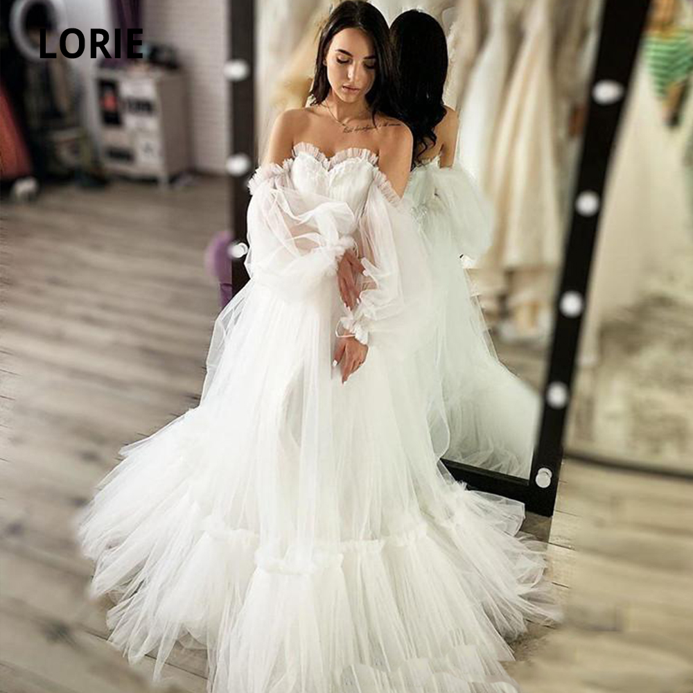 LORIE Charming Bohemian Beach Wedding Dresses Off The Shoulder Bridal Gowns Long Sleeves Sweep Train Tulle Princess Party Dress