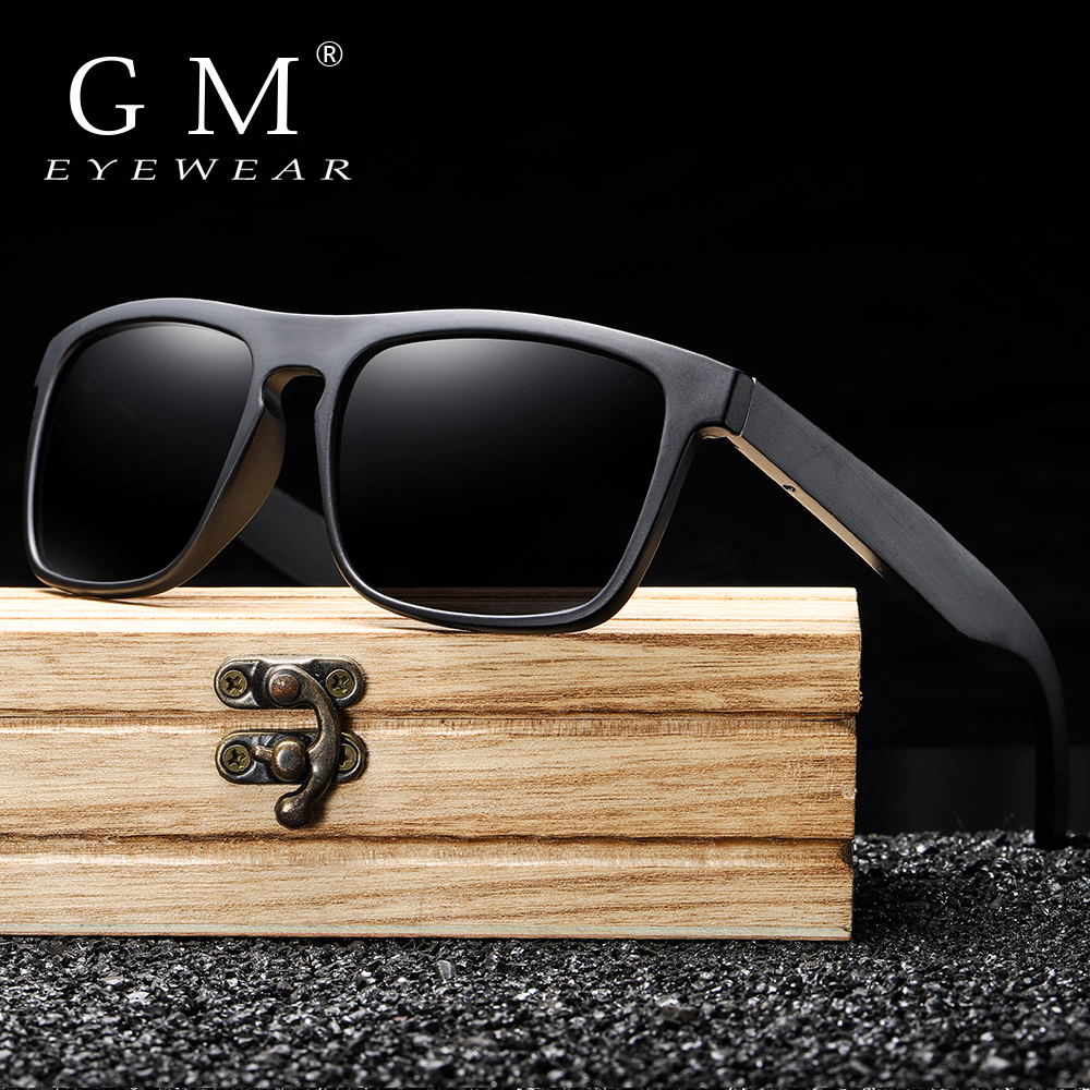 GM New Arrivals Black Wooden Polarized Sunglasses For Men Bamboo Sunglasses Red UV400 Lenses Fashion Driving Shades S5523