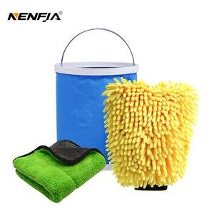 Image 1 - Ensemble de nettoyage et de séchage pour voiture, serviette de détail en microfibre, seau pliable Portable, gant Chenille imperméable, accessoire de lavage, 3 pièces