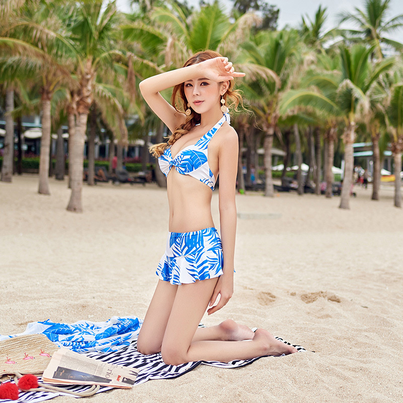 Ethnic-Style ~ Retro Bikini Sexy Bathing Suit Women's Small Bust Underwire Push Up Two-piece Swimsuits + Sun-resistant Trousers