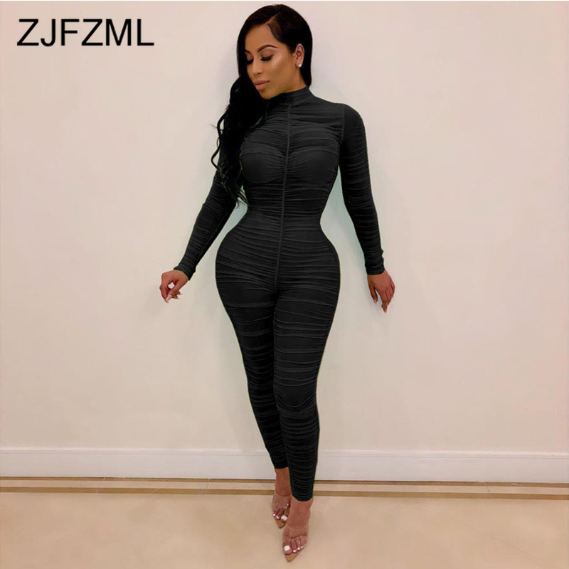 Sexy Ruched Perspective Mesh Romper Women Long Sleeve Bandage Party   Jumpsuit   Autumn High Neck Solid Skinny Plus Size Bodysuit