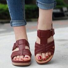 Kadın Premium ortopedik burnu açık sandalet Vintage kaymaz nefes yaz UND satış