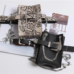 Image 5 - [EAM] 2020 New Spring Summer Pu Leather Personality Chain Buckle Split Joint Bag Belt Two Ways Wear Women Fashion Tide JL687