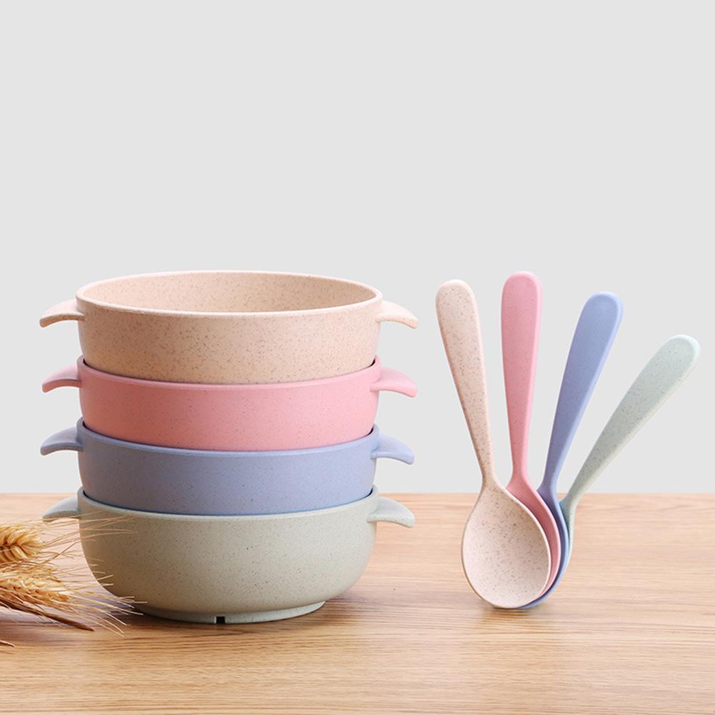 2 Pcs/Set Baby Feeding Food Tableware Wheat Kid Dishes Eco-Friendly Children Training Dinnerware Plate Bowl Spoon