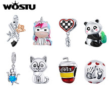 WOSTU Rainbow Horse Lovely Panda Cub Bracelet Fit DIY Charms 925 Sterling Original Pendant Bead For Women DIY Fine Jewelry