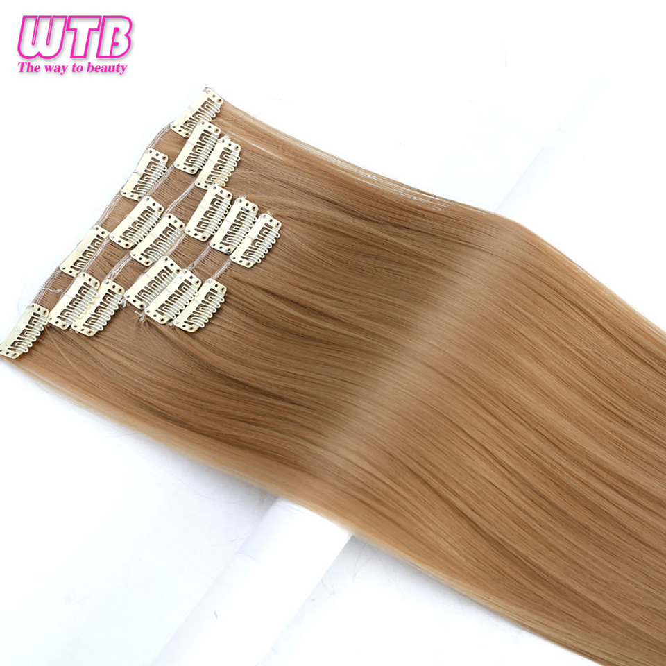 WTB Long Straight Hair Extensions 6 pcs/set <font><b>16</b></font> Clips In Hair Extensions Heat Resistant Synthetic Fake Hair Pieces 24