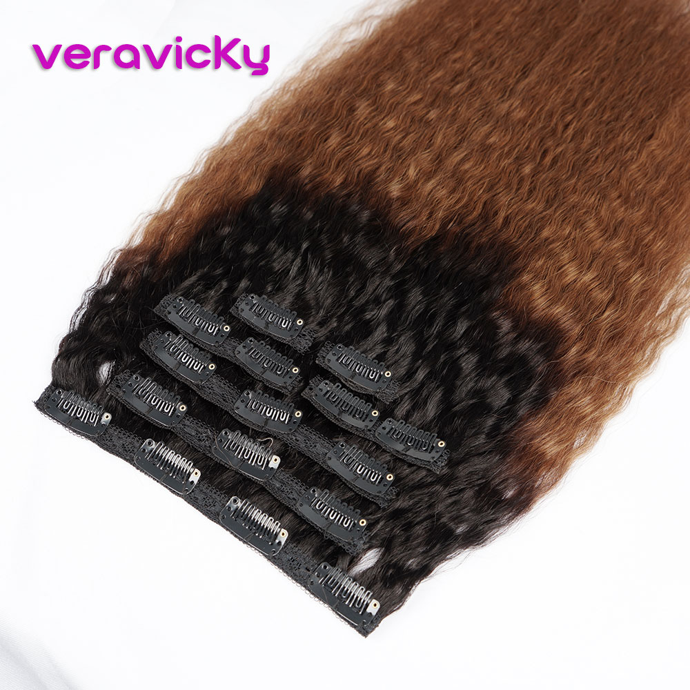 Ombre Kinky Striaght Clip In Human Hair Extension Brazilian Natural Hair In Clips Full Head Machine Made Remy Hair Clip Ins