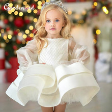 Ball-Gown Birthday-Dress Robe-De-Princesse Puffy-Layers Girl Glitter Sleeves Illusion