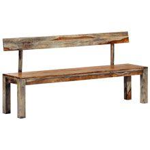 50 Cm Banco 160Cm gris sólido de madera Sheesham, bancos de Patio al aire libre muebles
