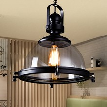 Vintage Iron LED Pendant Lights Loft Industrial Kitchen Hanging Lamp For Dining Room Decor Home Light Fixtures Glass Lampshade(China)
