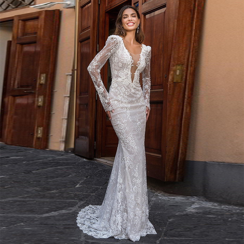Verngo Mermaid Wedding Dresses Lace Appliques Boho Wedding Dress Backless Elegant Bride Dress Gowns Vestidos De Novia 2020