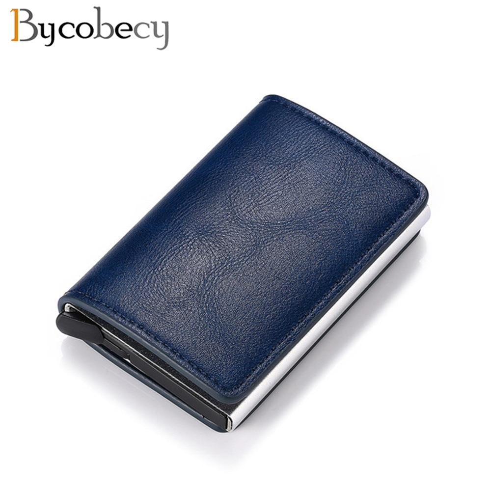 Bycobecy Antitheft Men Vintage Credit Card Holder Blocking Rfid Wallet Leather Unisex Security Women Magic