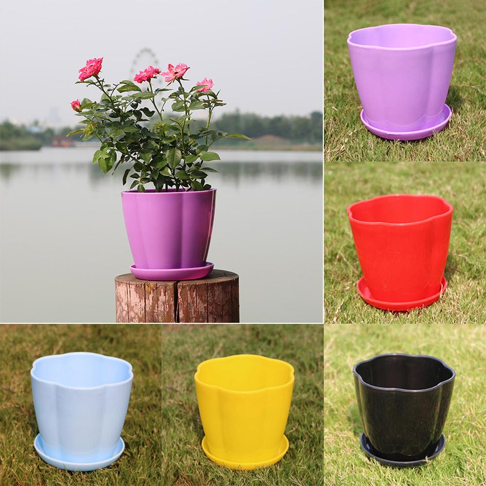 Pumpkin Shape Plastic Imitation Porcelain Flower Pot Succulent Garden Planter  Garden Supplies