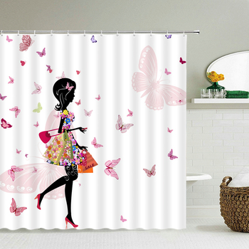 Flower Butterfly Gril Bath Shower Curtain with Hooks Fabric Waterproof 3d Bathroom Shower Curtains Large 240X180 Bath Screen image