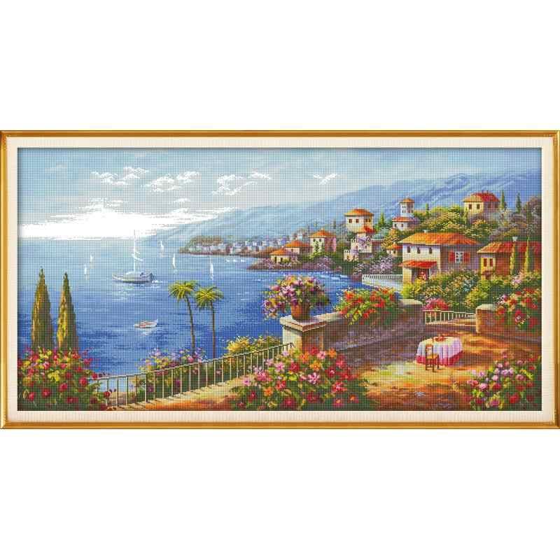 地中海町の風景 DMC クロスステッチキット 14ct 白布印刷刺繍 Diy マニュアル針仕事家の壁の装飾