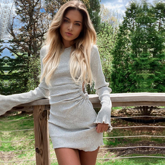 Autumn Draped Flare Sleeve Cut-Out Mini Dresses Knitting Round Neck Ruched Dress Skinny Chic Casual Streetwear 5