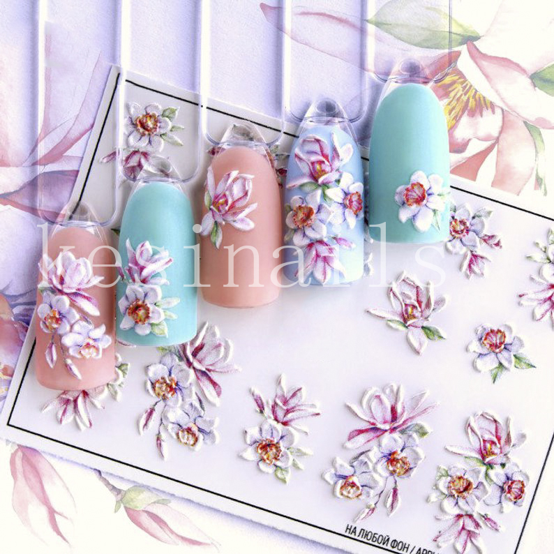 3D Nail Decal Floral Water Transfer Fashion  Sticker Nail Wraps 3 D  Slide Nail Art#3D0029