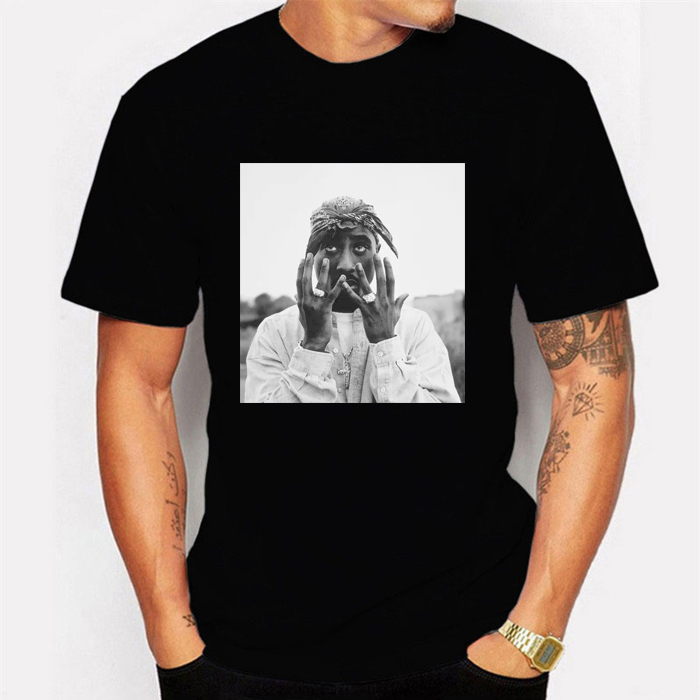White Tupac Shakur T-shirt  For Men Casual Street Mens Fashion T Shirts Hiphop Rap Star Cool T-shirts Short Sleeve Cotton Tee