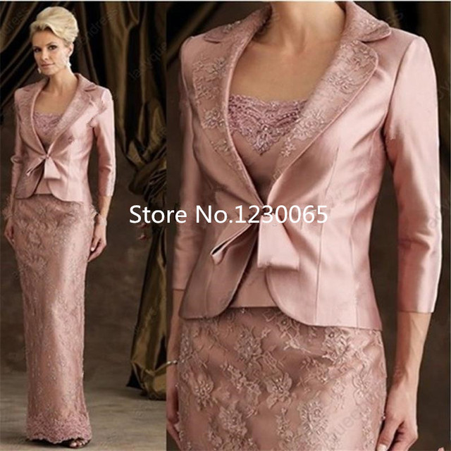 $ US $129.20 vestido de noiva festa 2020 Sheath Floor Length Satin Evening party Gown vestido de noiva Mother of Bride Dresses With Jacket