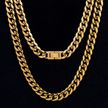 DNSCHIC Miami 10mm Stainless Steel Cuban Link Jewelry Chain Stainless Steel Chain Necklace for Men Stainless Steel hip-hop stainless steel