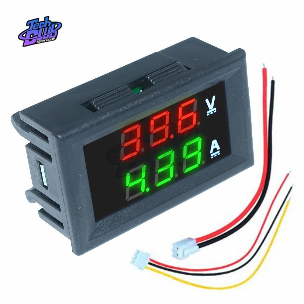 Mini Digital Voltmeter Ammeter DC 100V 200V 10A Panel Amp Volt Voltage Current Meter Tester High Accuracy  LED Display Auto Car