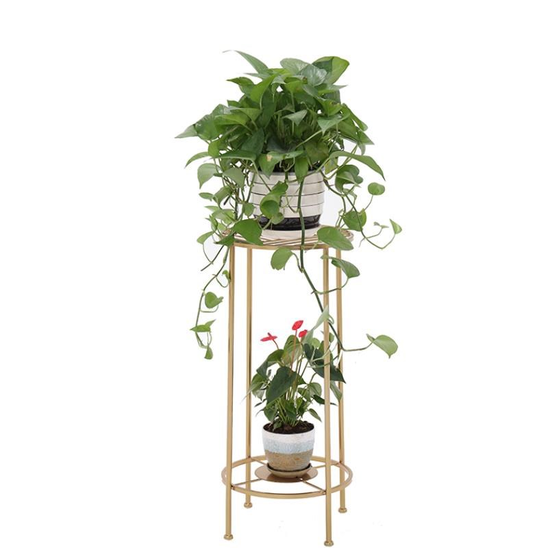 M8 Wrought Iron Golden Mini Floor Pot Rack Living Room Balcony Indoor Flower Stand Ins More Meat Green Loll Simple Flower Stand
