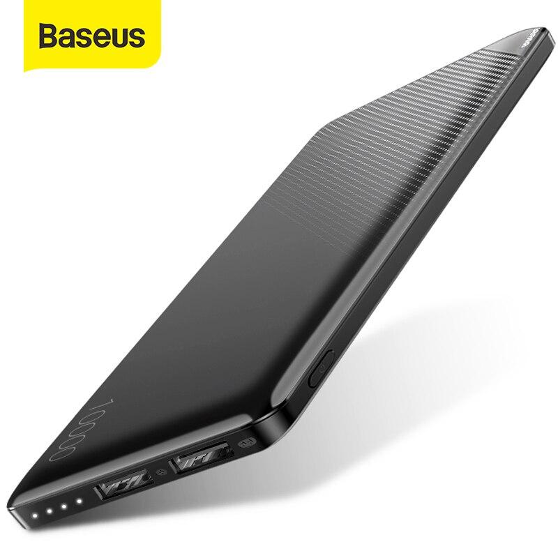 Baseus 10000 мА портативное зарядное устройство тонкая Внешняя батарея двойной USB портативное зарядное устройство портативное мини-зарядное уст...