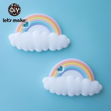 Lets Make 20pc Rainbow Silicone Teethers Cartoon Shape BPA Free Tint Rod Food Grade Silicone Baby Teethers Teething Toys Patent