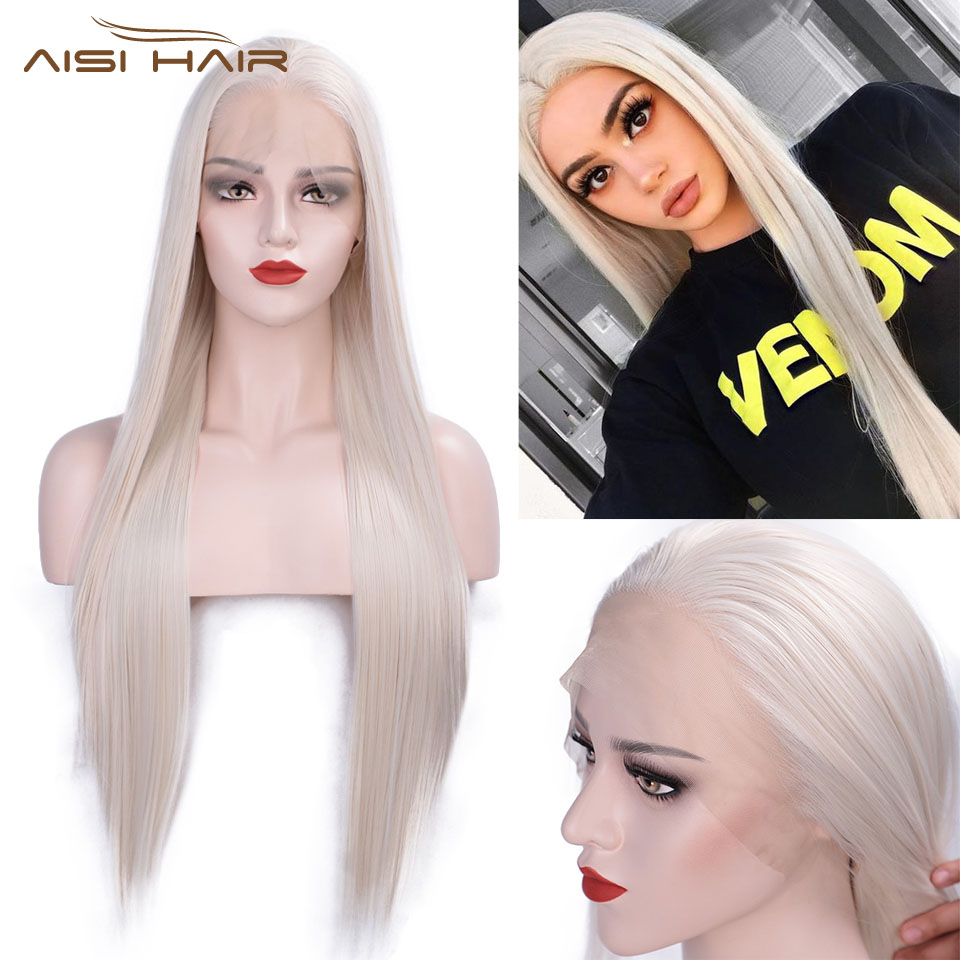 I's A Wig 13X4 Long Straight Synthetic Lace Front Wigs 60 Blonde/Black/Pink Heat Resistant Wigs With Natural Part Wig For Women