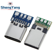 10pcs USB 3.1 Type C Connector 24 Pins Male/Female Socket Receptacle Adapter to Solder Wire & Cable 24 Pins Support PCB Board