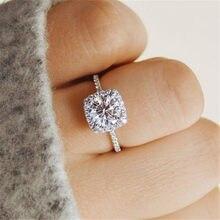 Anillo de compromiso romántico para mujer, sortijas de moda de taladro blanco exquisito, joyería de boda, los mejores regalos
