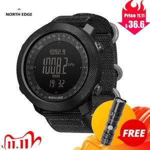 Image 2 - NORTH EDGE sportowy zegarek cyfrowy dla mężczyzn, wskazywanie godziny, tryb biegania, pływania, zegarki militarne, wojskowe, barometr, wysokościomierz, kompas, wodoodporny do 50m głębokości