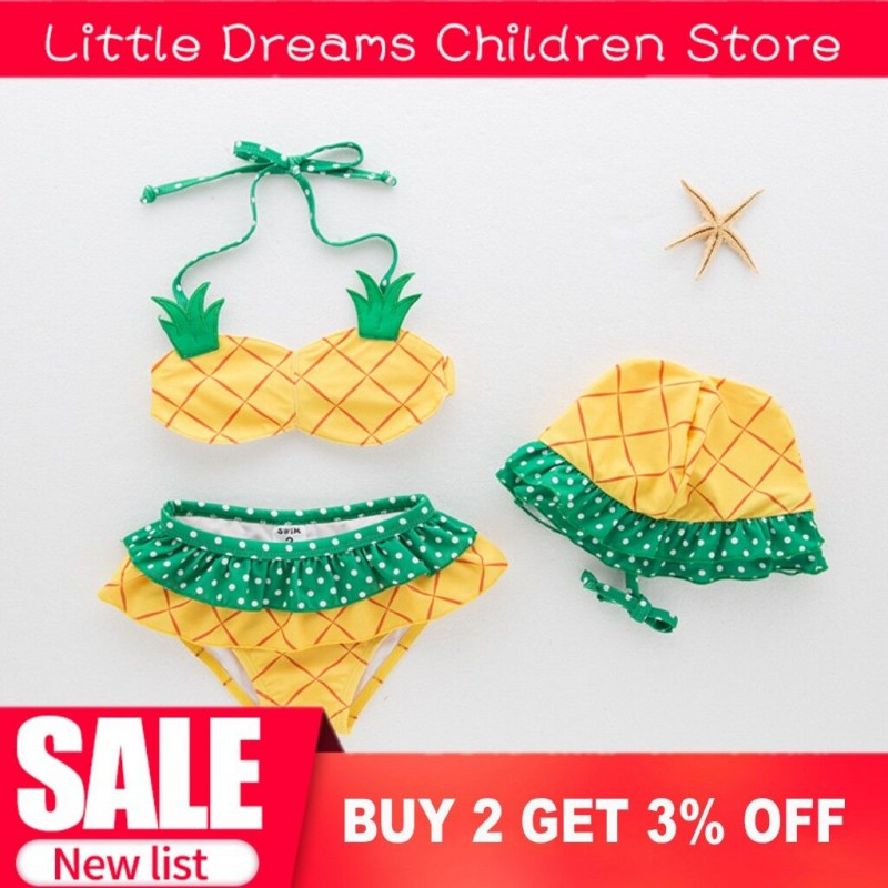 Dropship Baby Girl Swimwear Infant Toddler Kids Fashion Pineapple Fruit Swimsuit Hat+Bra+Underwear Spa Baby Swimwear Bikini