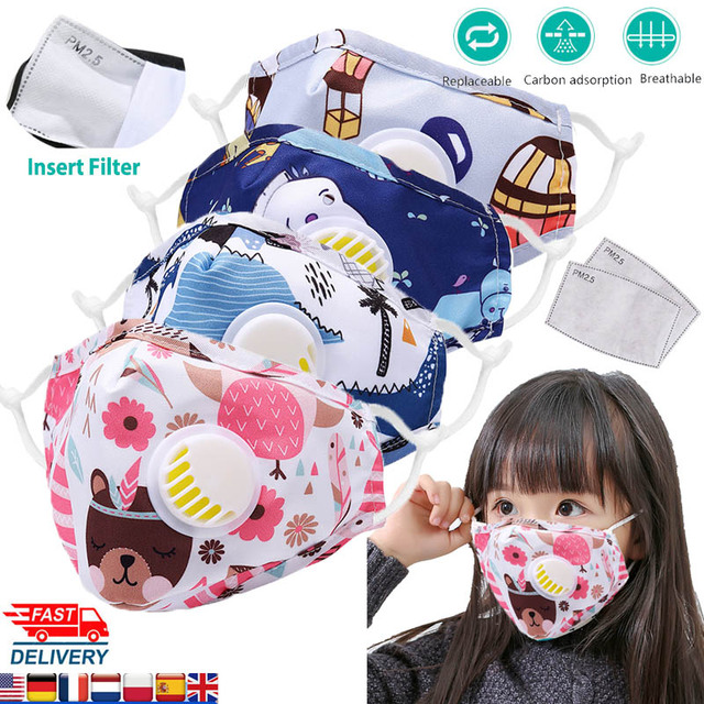 PM2.5 Face Mask Kids  Mask Cute Breathable Valve Mouth Mask Filter Pad Pollution Activated Carbon Filter Summer Cotton Masks