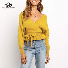 Bella philosophy Women Autumn Lace-Up Sweaters Ruffles Female Loose Knitted Sweaters Casual Street Backless Lady Pullovers Tops(China)