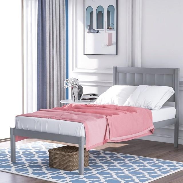 Wood Platform Bed With Headboard  1