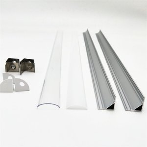Image 5 - 1 30pcs 50cm LED Bar Light Housing V Shape Triangle Aluminum Profile Mikly Clear Cover Connector Clip Channel for 12mm PCB Strip