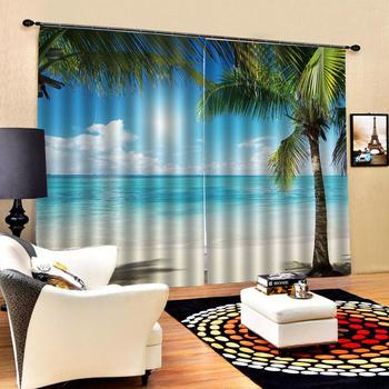 Modern Home Decoration Blackout 3D Curtain Blue sky, white clouds, sea, leaves Photo 3D Curtains for Living Room Window