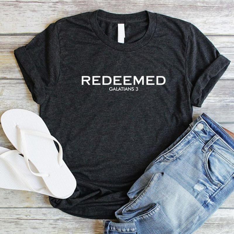 Redeemed Christian Women Shirts Jesus Forgiven Tshirt Bible Verse Grace T-shirt Blessed Casual Tees Cotton Summer Tops Drop Ship