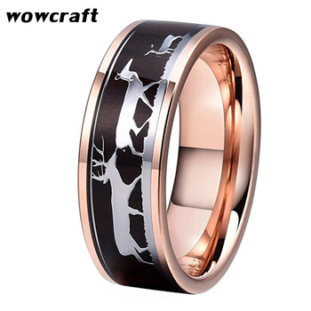 8mm Mens Womens Rose Gold Tungsten Carbide Ring Deer Family Black wood Inlay Engagement ring Wedding Band Father's Mother's Gift
