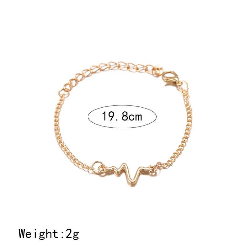 2019 großhandel Koreanischen Mode Einfache Wellen EKG Herz Rate Blitz Charme Armbänder Für Frauen & Männer Schmuck Sommer Stil Strand