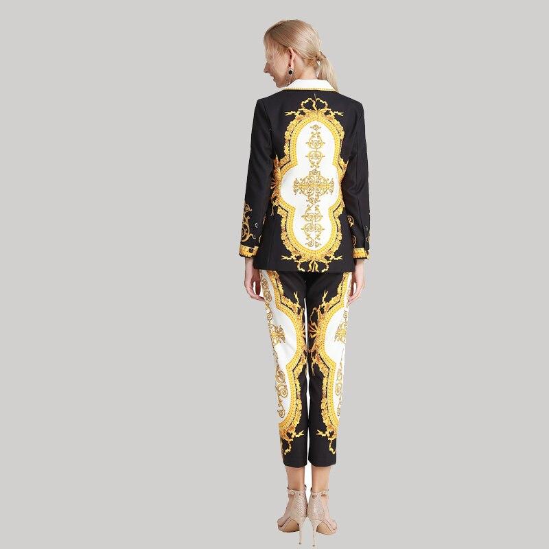 fashion show blazer feminino 2019 Autumn And Winter Fashion office V-neck elegant print Long sleeve jaqueta pantalon femme
