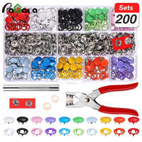 200 Sets Press Studs Kit Tool Fastener Snap Pliers Metal Cloth Buttons DIY Handmade Clothing Repairs for Clothing Sewing Craft