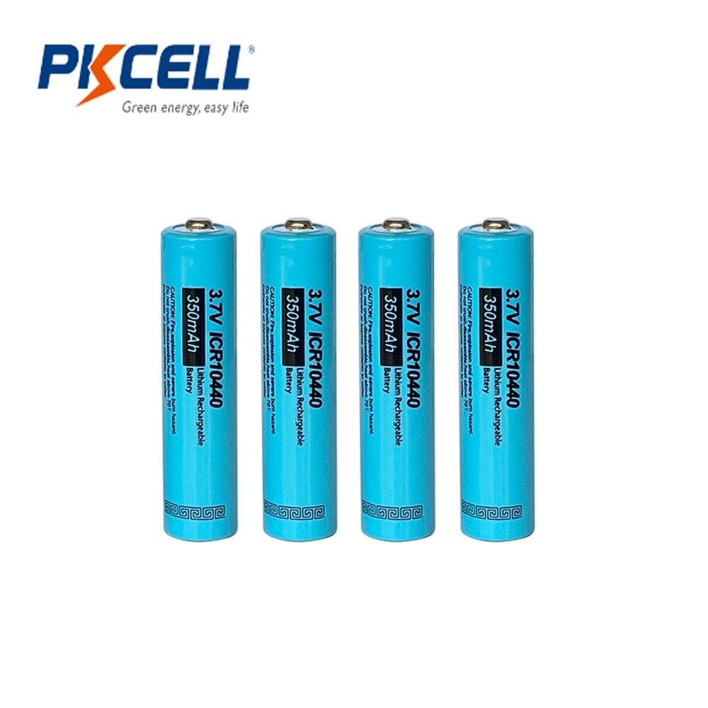 4 шт. PKCELL ICR 10440 литиевая батарея AAA 350MAH 3,7 v Li-Ion AAA перезаряжаемые батареи Кнопка Топ фонарик электронная машина
